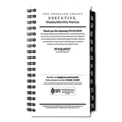 Executive Pocket Size Weekly/Monthly Planner Refill, 6 1/4 x 3 1/4, White, 2020