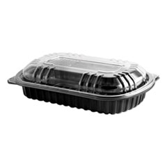 MicroRaves Rib Container w/Vented Anti-Fog Lids, Half Slab, Black/Clear, 150/CT