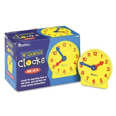 Set of Six Four-Inch Geared Learning Clocks, for Grades Pre-K to 4