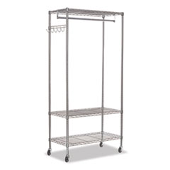 Wire Shelving Garment Rack, 30 Garments, 36w x 18d x 75h, Silver
