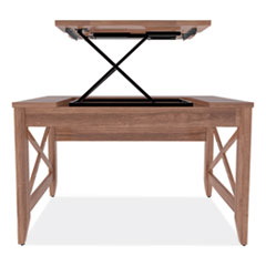 Sit-to-Stand Table Desk, 47.25w x 23.63d x 29.5 to 43.75h, Modern Walnut