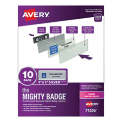 The Mighty Badge Name Badge Holder Kit, Horizontal, 3 x 1, Laser, Silver, 10 Holders/ 80 Inserts