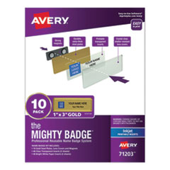 The Mighty Badge Name Badge Holder Kit, Horizontal, 3 x 1, Inkjet, Gold, 10 Holders/ 80 Inserts
