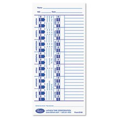 Time Card for Lathem Models 900E/1000E/1500E/5000E, White, 100/Pack