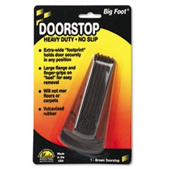 Big Foot Doorstop, No Slip Rubber Wedge, 2.25w x 4.75d x 1.25h, Brown