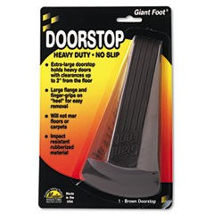 Giant Foot Doorstop, No-Slip Rubber Wedge, 3-1/2w x 6-3/4d x 2h, Brown