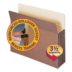 "Redrope Drop Front File Pockets, 3.5"" Expansion, Letter Size, Redrope, 25/Box"