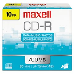 CD-R Discs, 700MB/80min, 48x, w/Slim Jewel Cases, Silver, 10/Pack