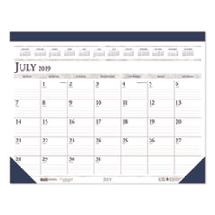 Recycled Two-Color Academic 14-Month Desk Pad Calendar, 22 x 17, 2019-2020
