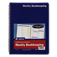 Weekly Bookkeeping Record Book, Royal Blue Cover, 11 x 8.5, 112 Pages