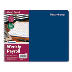 Weekly Payroll Record Book, Royal Blue Cover, 8.5 x 11, 112 Pages