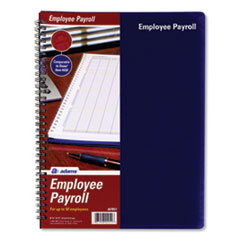 Adams Employee Payroll Record Book, Royal Blue Cover, 11 X 8.5, 112 Pages