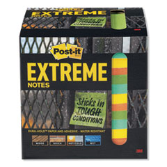 Post-It  Extreme Noteswater-Resistant Self-Stick Notes, Multi-Colored, 3  X 3 , 45 Sheets, 12/Pack