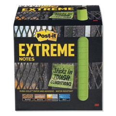 Post-It  Extreme Noteswater-Resistant Self-Stick Notes, Green, 3  X 3 , 45 Sheets, 12/Pack