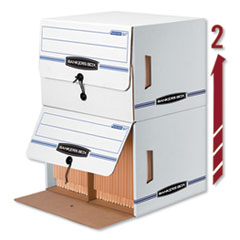 Bankers Box Side-Tab Storage Boxes, Letter Files, White/Blue, 12/Carton