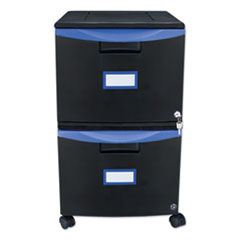 Storextwo-Drawer Mobile Filing Cabinet, 14.75W X 18.25D X 26H, Black/Blue