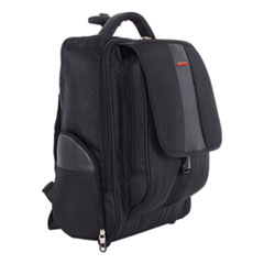 "Litigation Backpack On Wheels, Holds Laptops 15.6"", 9"" x 9"" x 18"", Black"