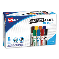 MARKS A LOT Desk-Style Dry Erase Marker, Broad Chisel Tip, Assorted Colors, 8/Set
