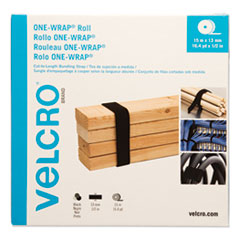 "ONE-WRAP Cut-To-Fit Thin-Ties, 0.5"" x 49 ft, Black"
