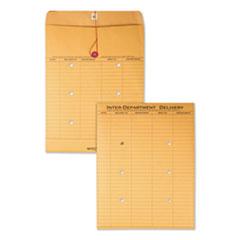 Brown Kraft String & Button Interoffice Envelope, #97, Two-Sided Five-Column Format, 10 x 13, Brown Kraft, 100/Carton