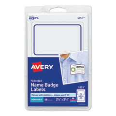 Flexible Adhesive Name Badge Labels, 3.38 x 2.33, White/Blue Border, 40/Pack