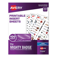 The Mighty Badge Name Badge Inserts, 1 x 3, Clear, Inkjet, 20/Sheet, 5 Sheets/Pack