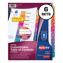 Customizable TOC Ready Index Multicolor Dividers, 8-Tab, Letter, 6 Sets