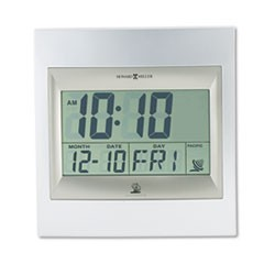 "TechTime II Radio-Controlled LCD Wall or Table Alarm Clock, 8.75"" x 9.25"", Silver/Titanium Case, 1 AA (sold separately)"