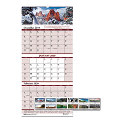 Recycled Scenic Compact Three-Month Wall Calendar, 8 x 17, 2019-2021