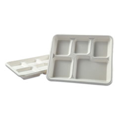 "Bagasse Molded Fiber Dinnerware, 5-Compartment Tray, 8"" x 12"", White, 500/Carton"