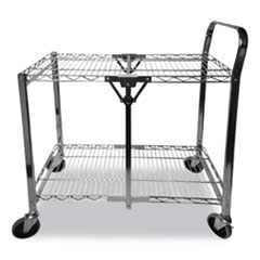 Stowaway Folding Carts, 2 Shelves, 35w x 37.25d x 22h, Black, 250 lb Capacity