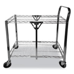 Stowaway Folding Carts, 2 Shelves, 29.63w x 37.25d x 18h, Black, 250 lb Capacity
