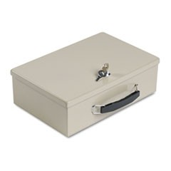 Steelmaster Heavy-Duty Steel Fire-Retardant Security Cash Box, Key Lock, Sand