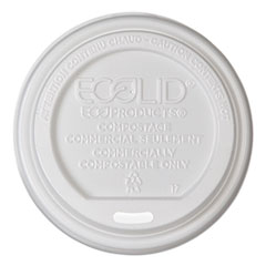 EcoLid Renewable & Compost Hot Cup Lids, Fits 10-20oz Hot Cups, 50/PK, 16 PK/CT