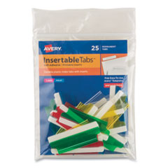 "Insertable Index Tabs with Printable Inserts, 1/5-Cut Tabs, Assorted Colors, 2"" Wide, 25/Pack"