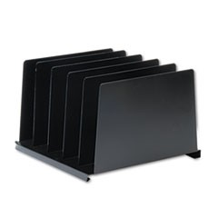 Angled Vertical Organizer, Five Sections, Steel, 14 1/2 x 9 7/8 x 8 3/4, Black