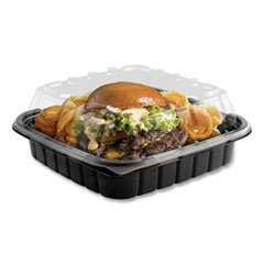 Crisp Foods Technologies Containers, 33 oz, 8.46 x 8.46 x 3.16, 1 Compartment, Clear/Black, 180/Carton