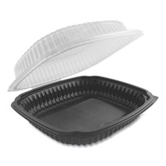 Culinary Lites Microwavable Container, 39 oz, 9 x 9 x 3.01, Clear/Black, 100/Carton