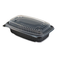 Culinary Lites Microwavable Container, 34 oz, 9.55 x 6.65 x 3.04, Clear/Black, 100/Carton