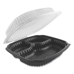 Culinary Lites Microwavable 3-Compartment Container, 26 oz/7 oz/7 oz, 9 x 9 x 3.01, Clear/Black, 100/Carton