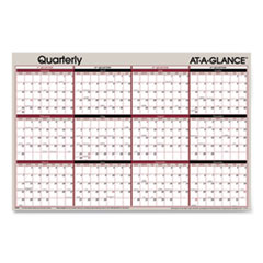 Vertical/Horizontal Erasable Quarterly Wall Planner, 24 x 36, 2021