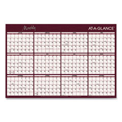 Reversible Horizontal Erasable Wall Planner, 48 x 32, 2021