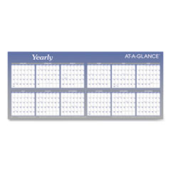 Large Horizontal Erasable Wall Planner, 60 x 26, White/Blue, 2021