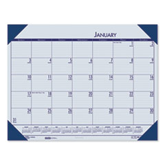 Recycled EcoTones Ocean Blue Monthly Desk Pad Calendar, 18.5 x 13, 2021