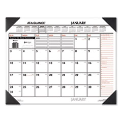 Two-Color Monthly Desk Pad Calendar, 22 x 17, 2021