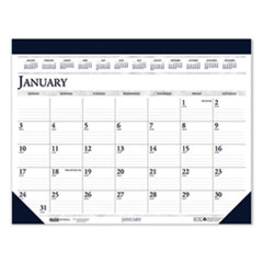 Recycled Two-Color Monthly Desk Pad Calendar, 22 x 17, 2021