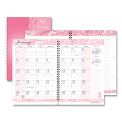 Recycled Breast Cancer Awareness Monthly Planner/Journal, 10 x 7, Pink, 2021