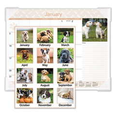 Puppies Monthly Desk Pad Calendar, 22 x 17, 2016