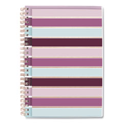 Ribbon Weekly/Monthly Planner, 8.5 x 5.5, Burgundy/Pink/Blue/White Striped, 2021