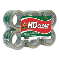"Heavy-Duty Carton Packaging Tape, 3"" Core, 3"" x 54.6 yds, Clear, 6/Pack"